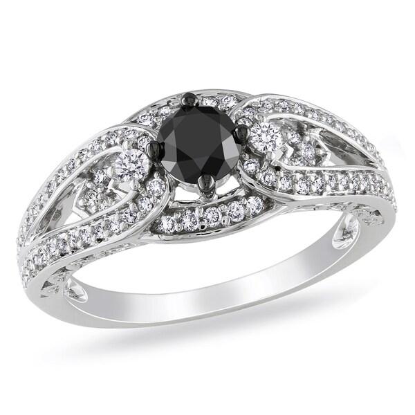 Miadora 14k White Gold 3/4ct TDW Black and White Diamond Ring
