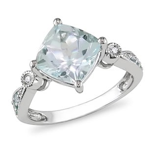 Miadora 10k White Gold Aquamarine, Blue Topaz and Diamond Ring