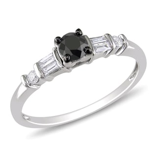 Miadora 14k White Gold 1/2ct TDW Black and White Diamond Engagement Ring