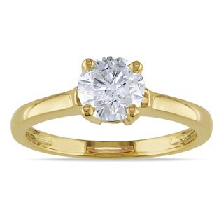 Miadora 14k Yellow Gold 1ct TDW Diamond Solitaire Ring (G-H, I1-I2)