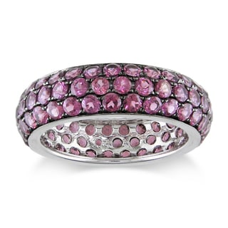Miadora 14k White Gold 4 1/3ct TGW Rhodolite Ring