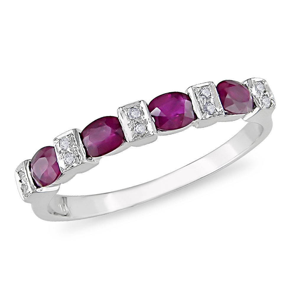Miadora 10k White Gold 3/4ct TGW Ruby and Diamond Ring