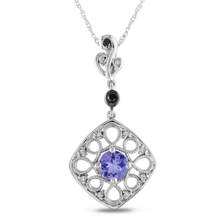 Miadora 10k White Gold Tanzanite and 1/10ct TDW Black and White Diamond Necklace