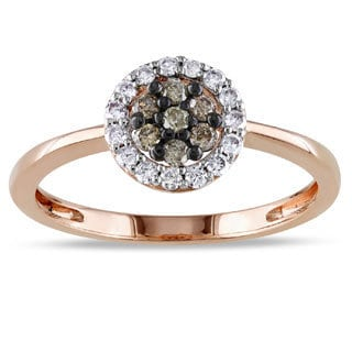Miadora 10k Rose Gold 1/4ct TDW Brown and White Diamond Halo Ring (I2-I3)