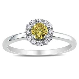 Miadora 10k White Gold 1/2ct TDW Yellow and White Diamond Ring (G-H, I1-I2)