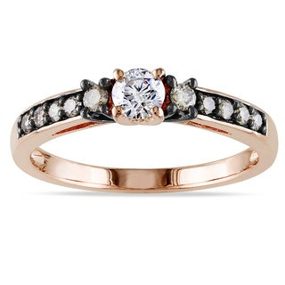 Miadora 14k Rose Gold 1/2ct TDW Brown and White Diamond Engagement Ring Ring (I1-I2)