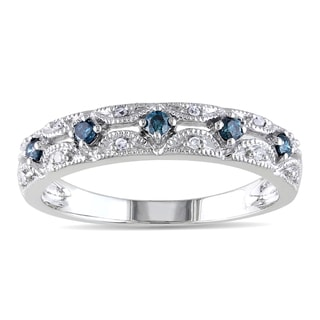 Miadora 10k White Gold 1/5ct TDW Blue and White Diamond Ring (I1-I2)