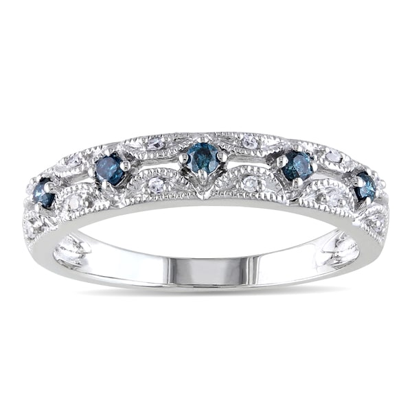 Miadora 10k White Gold 1/5ct TDW Vintage Blue and White Diamond Ring