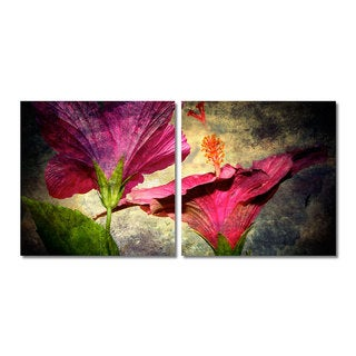 Alexis Bueno 'Tropical Hibiscus' Canvas Wall Art 2-piece Set