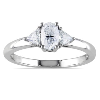 Miadora 14k White Gold 3/4ct TDW Diamond Three-Stone Ring (G-H, I1-I2)
