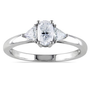Miadora 14k White Gold 3/4ct TDW Fancy Cut Oval Diamond Ring (G-H, I1-I2)