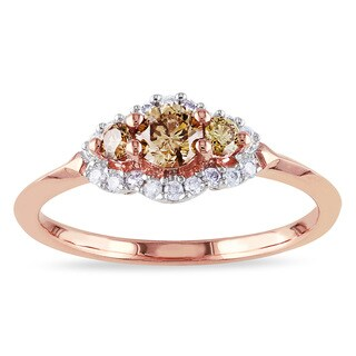 Miadora 10k Rose Gold 1/2ct TDW Brown and White Diamond Ring