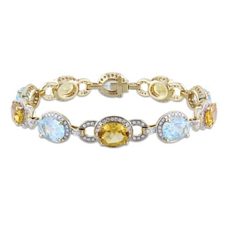Miadora 14k Yellow Gold 1 5/8ct TDW Diamond and Multi-Gemstone Bracelet