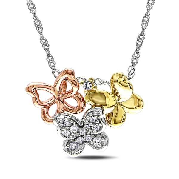 Haylee Jewels 10k Tri-color Gold Diamond Butterfly Necklace