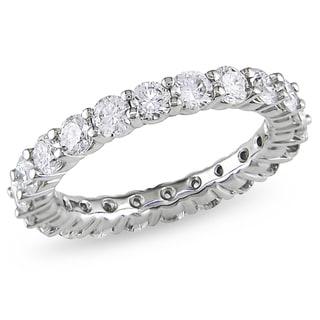 Miadora 18k White Gold 3ct TDW Certified Diamond Eternity Ring (H-I, I1-I2)