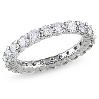 Miadora Signature Collection 18k White Gold 3ct TDW Certified Diamond Eternity Ring (H-I, I1-I2)