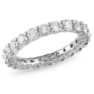Miadora Signature Collection 18k White Gold 3ct TDW Certified Diamond Eternity Ring (H-I, I1-I2, IGL)