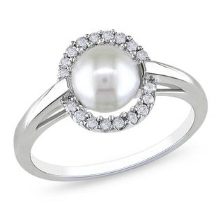 Miadora 10k White Gold Pearl and 1/6ct TDW Diamond Ring (H-I, I2-I3)