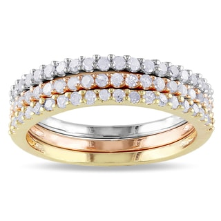 Miadora Sterling Silver 3-Piece Diamond Eternity Band Set