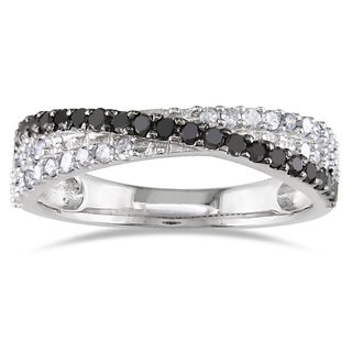 Miadora Sterling Silver 1/2ct TDW Black and White Diamond Crossover Ring