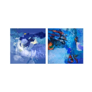 Alexis Bueno 'Blue Abstract Study' 2-pc Canvas Wall Art Set