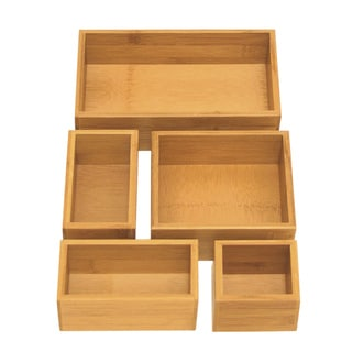 Seville Classics 5-piece Bamboo Drawer Organizer Boxes