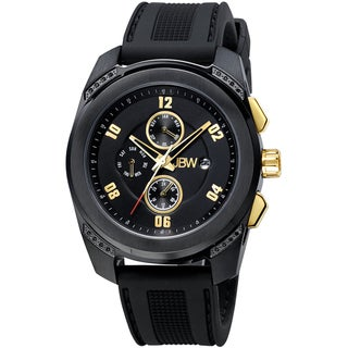 JBW Men's 'Mohawk' Black/ Gold-Tone Diamond-accented Watch