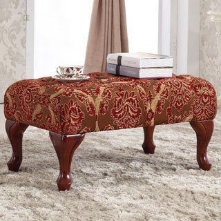 Classic Red/ Gold Button-tufted Bench Ottoman