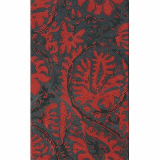 nuLOOM Handmade Transitional Floral Red Rug (4' x 6')