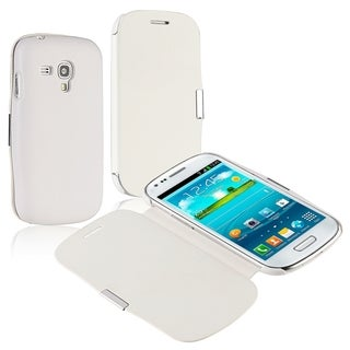 BasAcc White Leather Case/ Magnetic Flap for Samsung Galaxy S3 mini