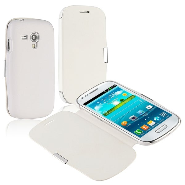 INSTEN White Leather Phone Case Cover/ Magnetic Flap for Samsung Galaxy S3 mini