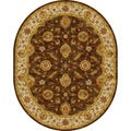 Hand-tufted Traditional Oriental Pattern Brown Rug (8' x 10') Oval