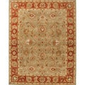 Hand-tufted Traditional Oriental Pattern Green Rug (2' x 3')
