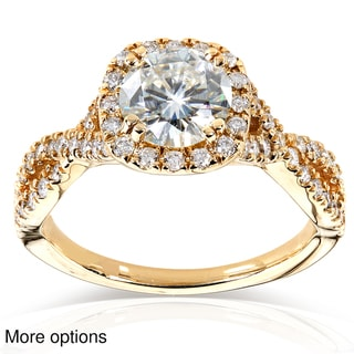 14k Gold Round-cut Moissanite and 1/2 ct TDW Bezel-set Diamond Engagement Ring (G-H, I1-I2)