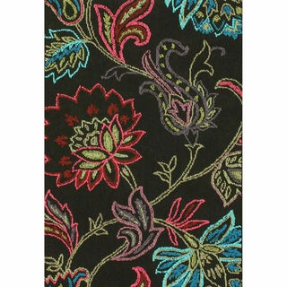nuLOOM Machine-tufted Transitional Floral Dark Brown Rug (5'6 x 7'6)