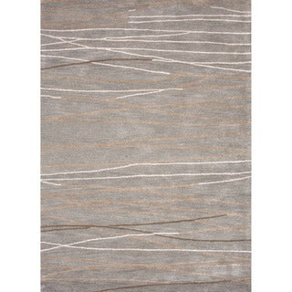 Hand-tufted Contemporary Lined Gray/ Black Area Rug (5' x 8')
