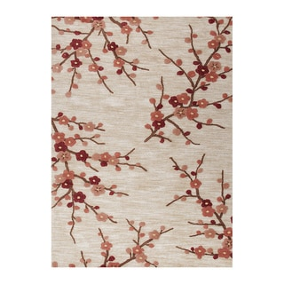Hand Tufted White Red Floral Rug 7 6 X 9 6 14043008
