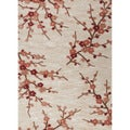 Hand-tufted Transitional Floral Lightbrown/ Orange Rug (7'6 x 9'6)