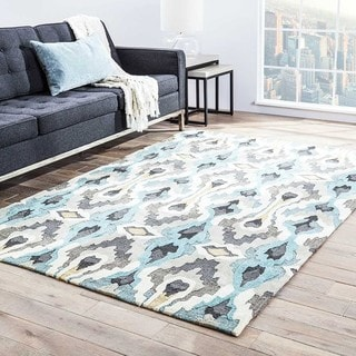 Hand-tufted Transitional Tribal Pattern Blue Rug (7'6 x 9'6)