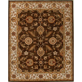 Durable Hand-tufted Traditional Oriental-pattern Brown Rug (2' x 3')