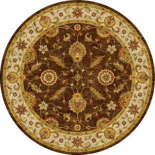 Hand-tufted Traditional Oriental-pattern Brown Area Rug (8' Round)