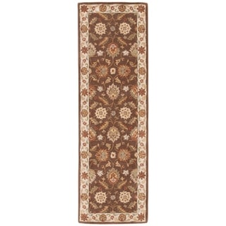 Hand-tufted Traditional Oriental Pattern Brown Rug (4' x 16')