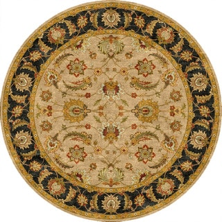 Hand-tufted Traditional Oriental Pattern Brown Rug (8' Round)