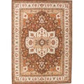 Hand-tufted Traditional Oriental Pattern Brown Rug (8' x 11')