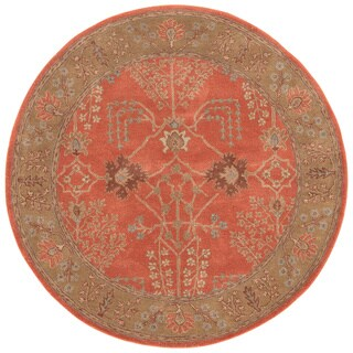 Hand-tufted Transitional Oriental Pattern Red/ Orange Rug (6' Round)