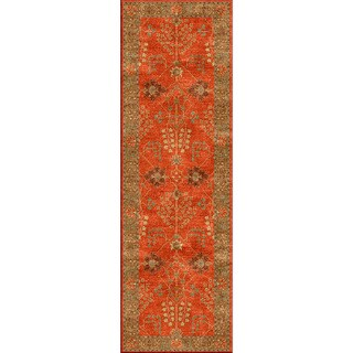 Hand-tufted Transitional Oriental Red/ Orange Rug (2'6 x 12')