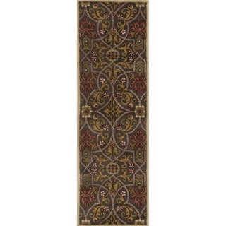 Hand-tufted Transitional Oriental Black/ Gold Rug (2'6 x 8')