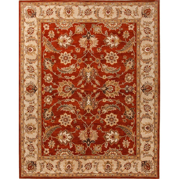 Hand-tufted Traditional Oriental Pattern Red/ Orange Rug (5' x 8')
