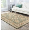 Hand-tufted Traditional Oriental Pattern Green Rug (2'6 x 4')