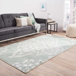 Hand-knotted Transitional Tone On Tone Pattern Blue Rug (2' x 3')